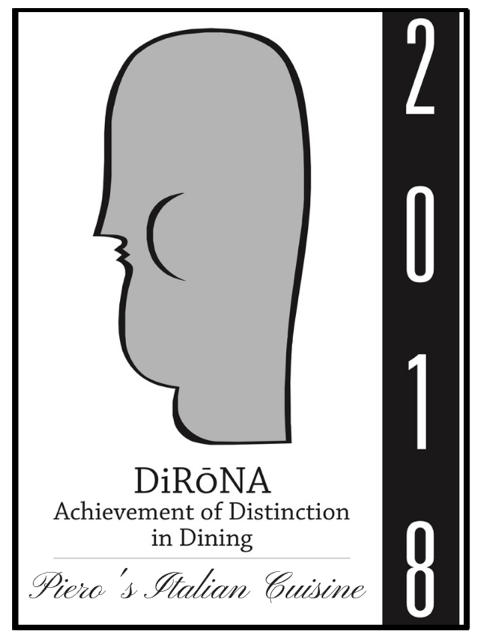 Piero's Italian Cuisine 2018 DiRoNA Awarded Restaurant