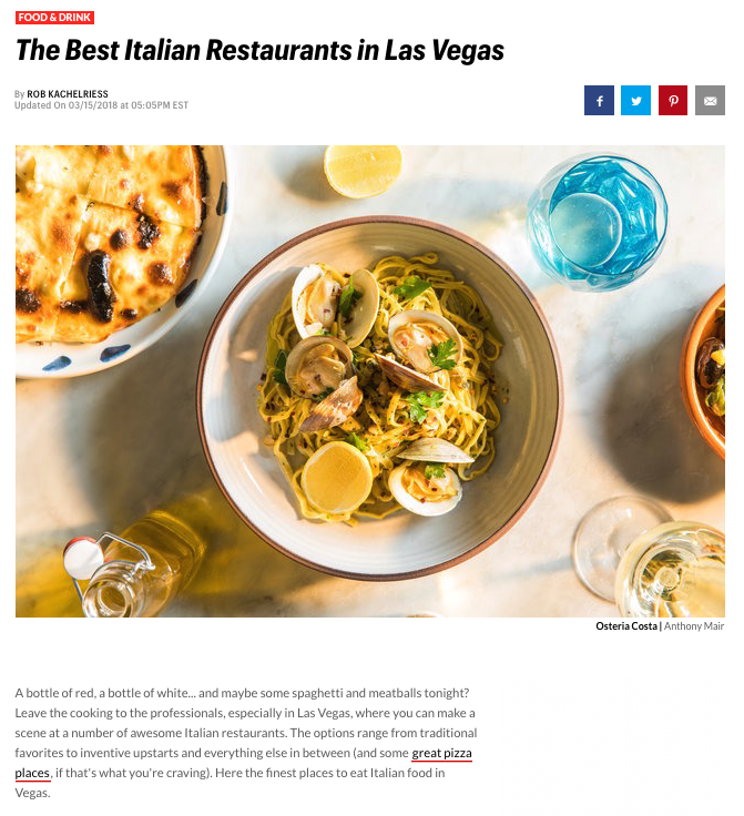 Thrillest.com Features Piero's Part of The Best Italian Restaurants in Las Vegas